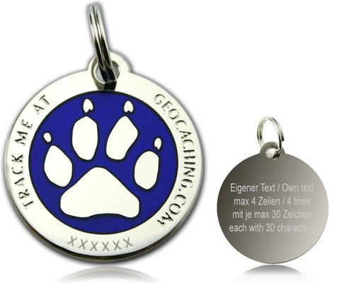 Cacher's Dog Polished Silver Blue -geokolikko