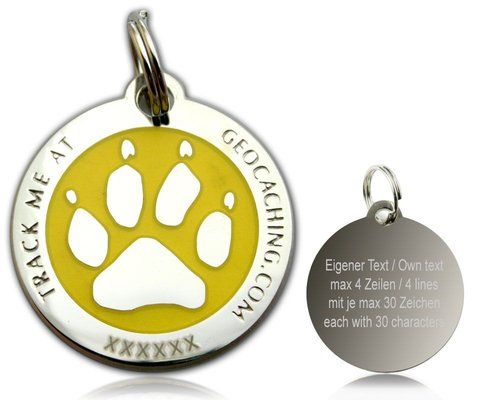 Cacher's Dog  Polished Silver Yellow -geokolikko