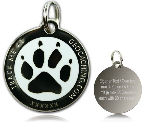 Cacher's Dog Polished Silver White -geokolikko