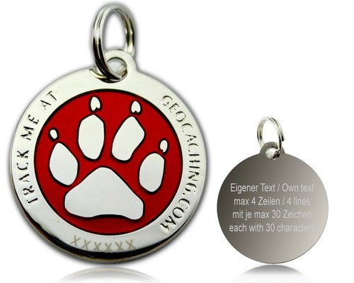 Cacher's Dog Polished Silver Red -geokolikko