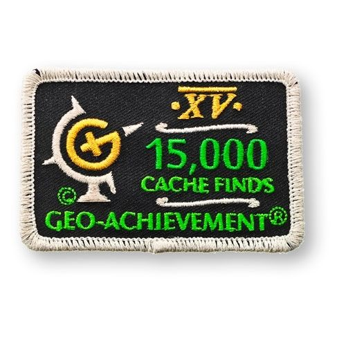 15000 Finds Geo-Achievement® -hihamerkki