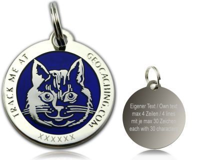 Cacher's Cat Polished Silver BLUE -geokolikko