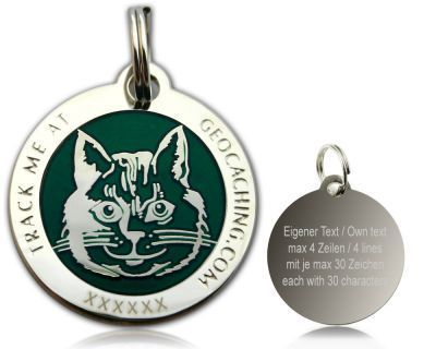 Cacher's Cat Polished Silver GREEN -geokolikko