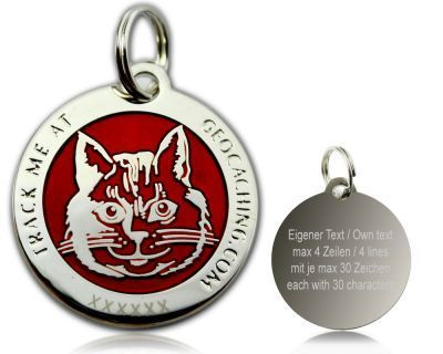 Cacher's Cat Polished Silver RED -geokolikko